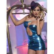 Клубное Платье с Ассиметричным Вырезом синее-OS...