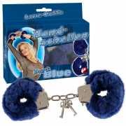 Наручники, ошейники: Меховые наручники синего цвета...