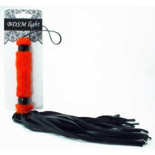 Кнуты, плётки, хлысты: Нежная плеть с красным мехом BDSM Light - 43 см.