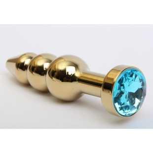 Интимные украшения: Золотистая анальная ёлочка с голубым кристаллом - 11,2 см.