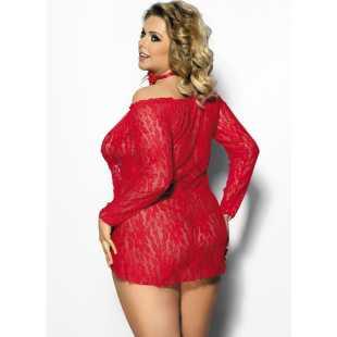 БОЛЬШИЕ размеры: Кружевная сорочка Alecto с длинными рукавами