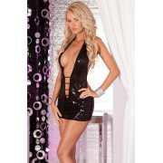 Эротическое платье: Платье с пайетками и глубоким декольте S...