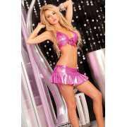Бикини и комплекты: Розовый комплект: топ и юбка со шнуровко...