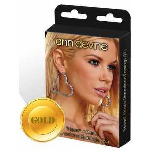 Серьги-сердечки Ann Devine - Heart Attack с кристаллами – золотой