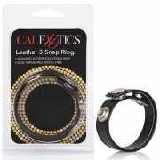 Кожаное кольцо на пенис 3-Snap Ring – черный...