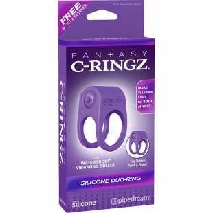 Эрекционное кольцо Duo-Ring на пенис и мошонку с вибрацией – фиолетовый