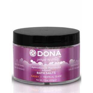 Цветная соль для ванны Dona Pamper Me Pretty Sassy с феромонами – тропический, 215 г