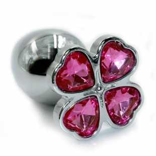 Маленькая алюминиевая анальная пробка Kanikule Small с кристаллом в форме четырехлистного клевера – серебристый с розовым