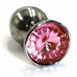 Большая алюминиевая анальная пробка Kanikule Large с кристаллом – серебристый со светло-розовым