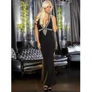 Длинное вечернее платье черного цвета с эротичным вырезом Hu...