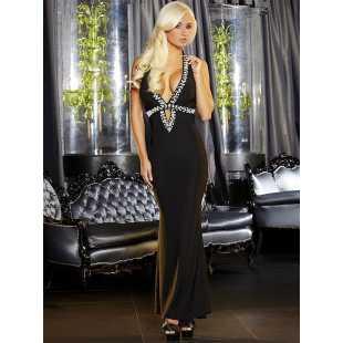 Длинное вечернее платье черного цвета с эротичным вырезом Hustler Lingerie – M/L