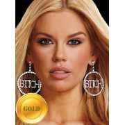 Большие круглые серьги Ann Devine с надписью Bitch – золотой...