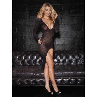 Платье с глубоким овальным вырезом и укороченным шлейфом Hustler Lingerie – черный