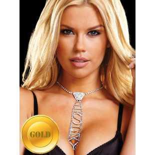 Галстук из кристаллов Ann Devine - Sexy Rhinestone Tie – золотой