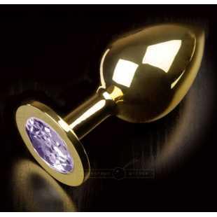 Большая анальная пробка 252 Large Gold Baby Purple с кристаллом – золотой с лавандовым