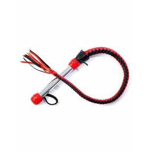 Плеть однохвостая Sitabella с хромированной ручкой – черно-красный