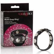 Кожаное кольцо на пенис Multi-Snap Ring – черный...