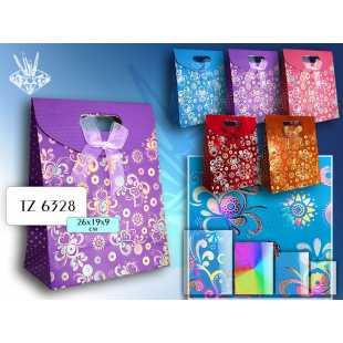 Бумажный подарочный пакет Tukzar  26 x 19 x 9 см - в ассортименте