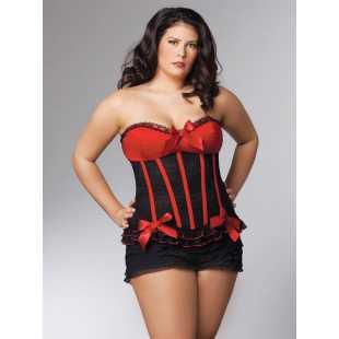Страстный черный корсет с красным лифом Queen Coquette – Queen Size