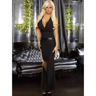 Черное вечернее платье в пол с открытой спиной Hustler Lingerie – M/L