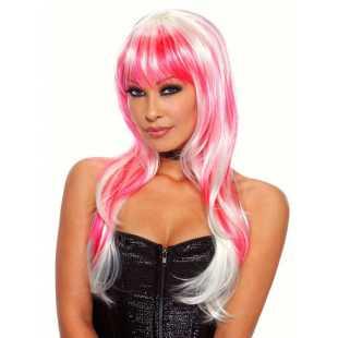 Бело-розовый парик с длинными волосами Candy