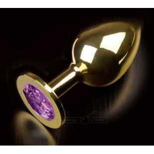 Большая анальная пробка 252 Large Gold Purple с кристаллом – золотой с фиолетовым