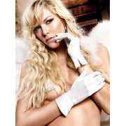 Белые гламурные перчатки из сатина Back in Heaven...