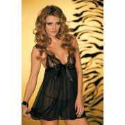 Черная сорочка и стринги Caprice Femme fatale - S/M...