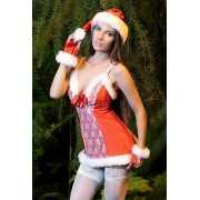 Игровой костюм Санта FlirtOn Hot Sante: платье, шапочка и пе...
