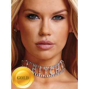 Ожерелье из кристаллов Ann Devine - Bitch Rhinestone Choker – золотой
