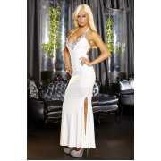 Белое вечернее платье в пол с нарядным декольте...