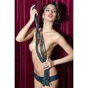 Чёрная кожаная плеть-кошка - 81 см.