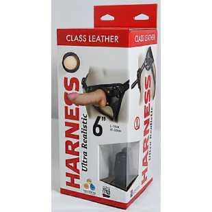 Насадка-фаллоимитатор на кожаных трусиках Harness Ultra Realistic 6  - 16 см.