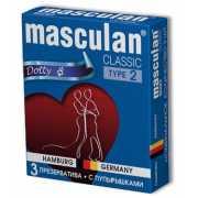 Розовые презервативы Masculan Classic Dotty с пупырышками - ...